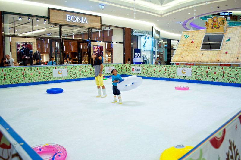Ice skating in Crescent Mall