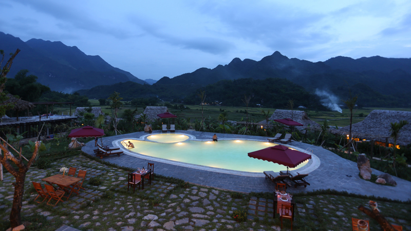 Pool at the Mai Chau Ecolodge in Mai Chau
