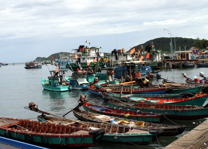 Boats at the harbor of An Thoi town, Phu Quoc