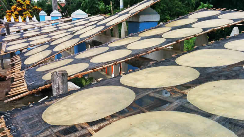 Rice crackers drying on the racks.
